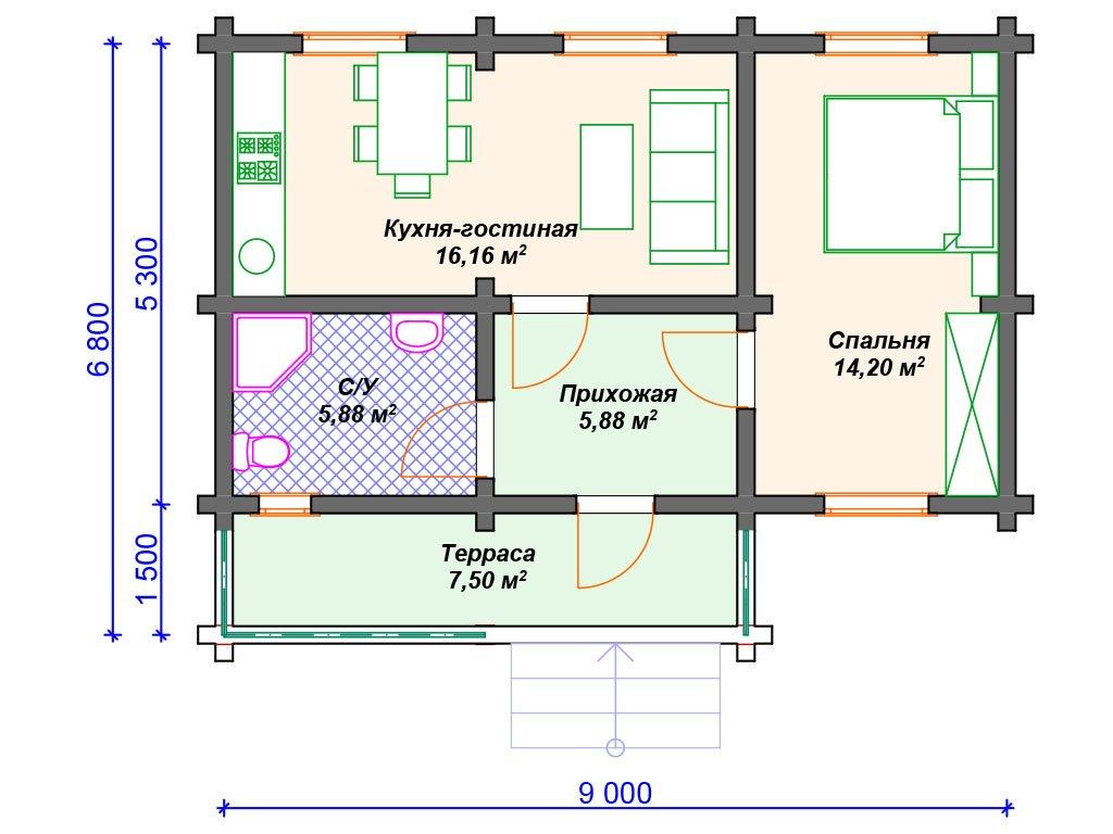 Проект дома ДС-107 (49.62 кв.м)