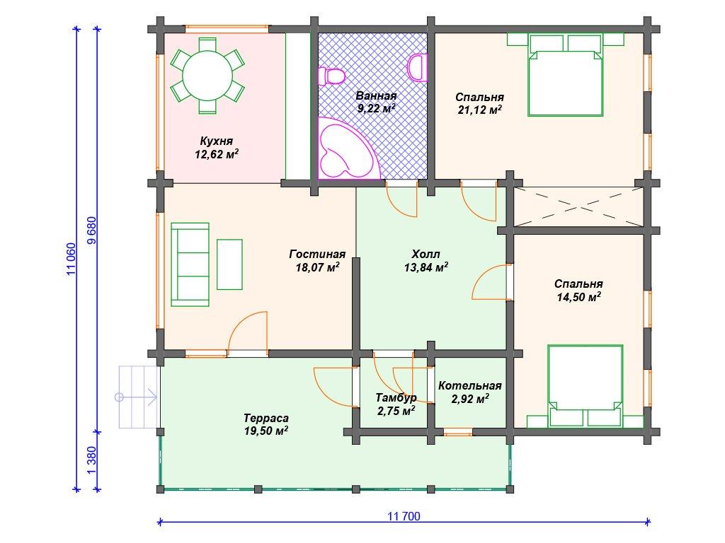 Проект дома ДС-087 (114.50 кв.м)