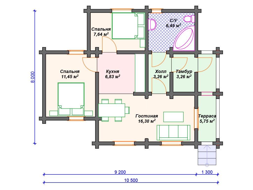 Проект дома ДС-057 (61.06 кв.м)