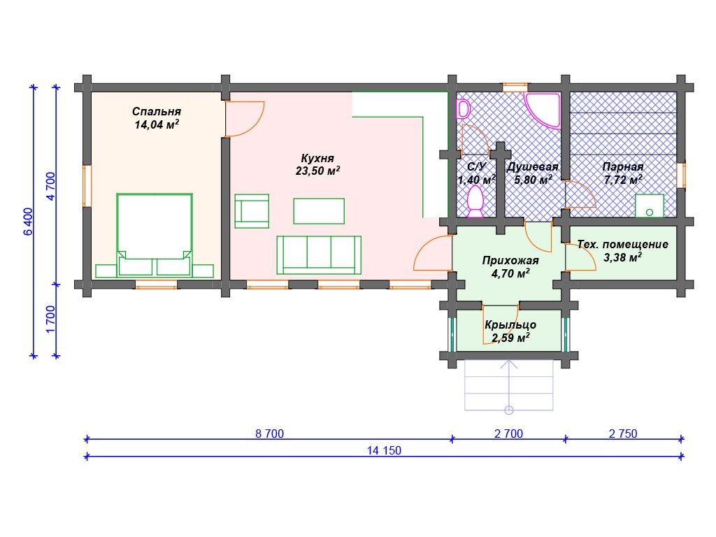 Проект дома ДС-048 (63.13 кв.м)
